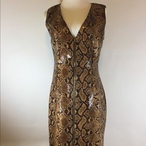 New Stephanie Deep V Mini Dress Brown. Size L
